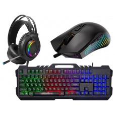 RAMPAGE Fitment KM-GX7 Gökkuşağı Aydınlatmalı USB Q Gaming Klavye + Mouse + Mousepad + Kulaklık Siyah