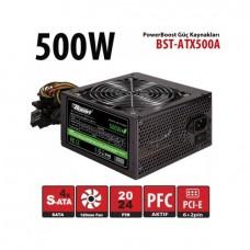 Powerboost ATX Serisi 500W 4xSATA, 4xHDD, 1xPCI-E, 1x8pin(4+4), 12cm fanlı Power Supply